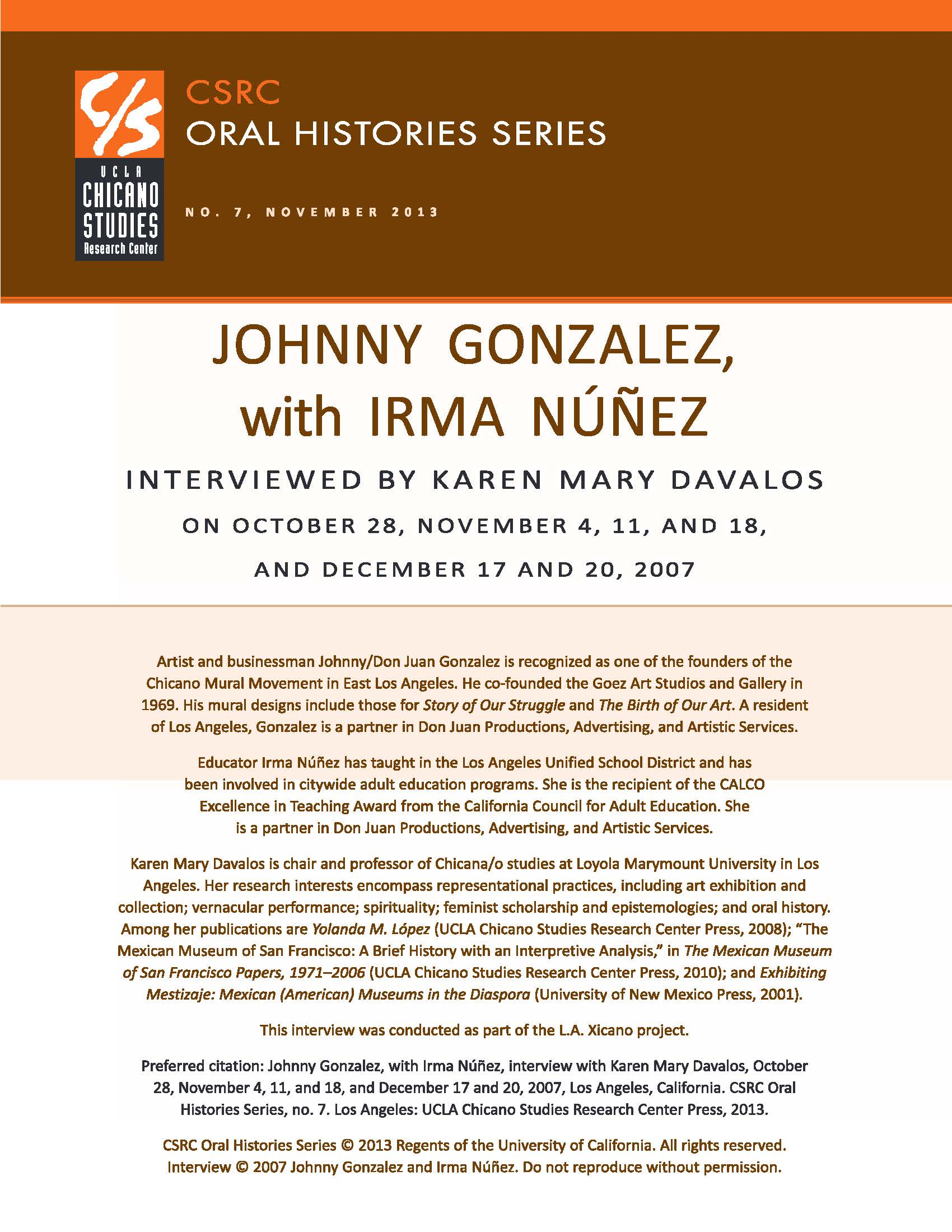 Johnny Gonzalez Ucla Chicano Studies Research Center