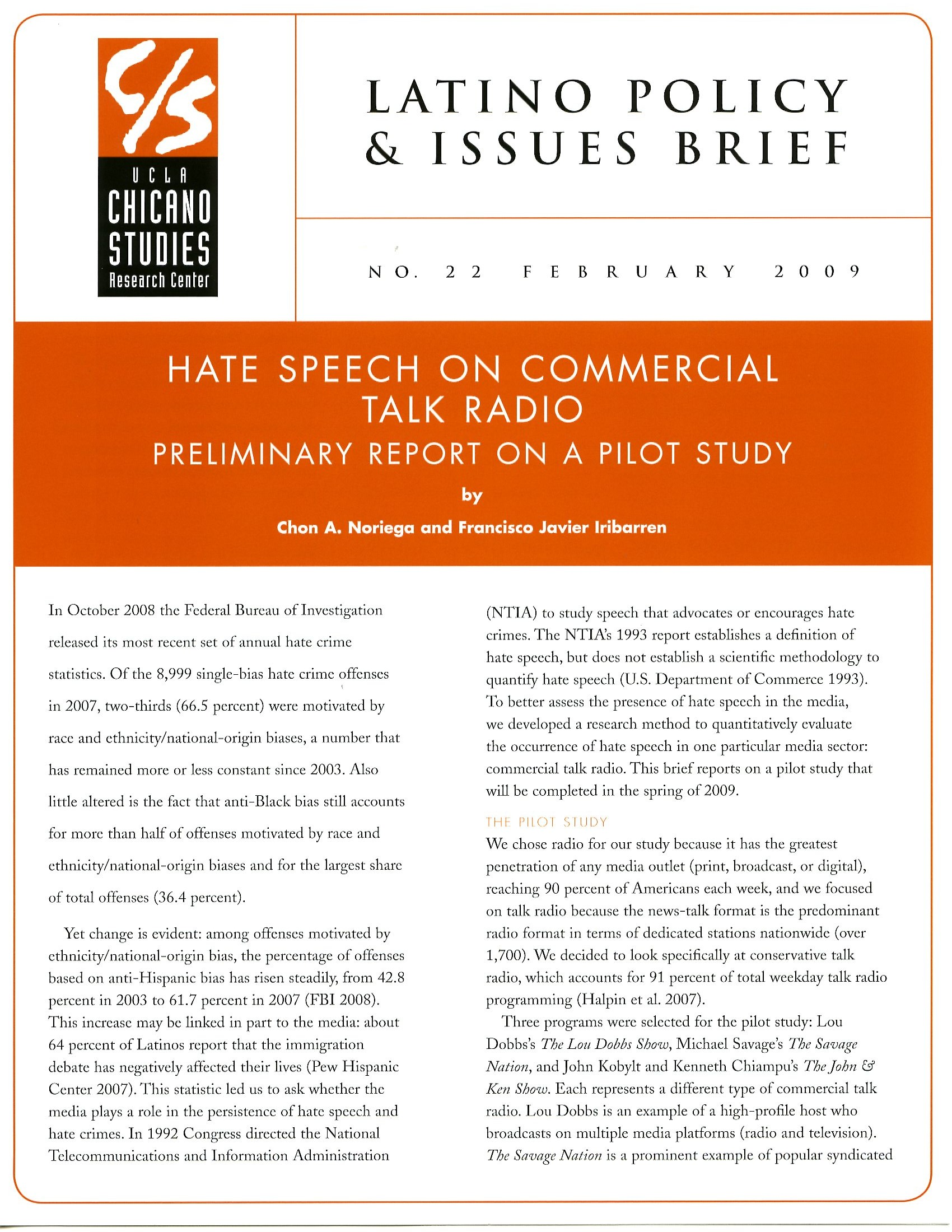 Hate Speech on Commercial Talk Radio – Hate Speech Example Template